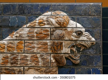 ISTANBUL, TURKEY - AUGUST 07, 2015: Istanbul Archaeological Museum: A lion from Ishtar Gate of Babylon. The Ishtar Gate was built by King Nebuchadnezzar II in about 575 BC.