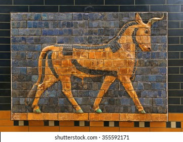 ISTANBUL, TURKEY - AUGUST 07, 2015: Istanbul Archaeological Museum  - A auroch from Ishtar Gate of Babylon.  The Ishtar Gate was built by King Nebuchadnezzar II in about 575 BC.