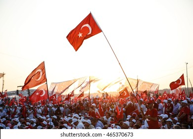 ISTANBUL, TURKEY - AUGUST 07: Istanbul during a rally against failed military coup on July 15 on August 07, 2016 in Istanbul, Turkey.