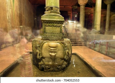 ISTANBUL, TURKEY - AUGUST 08, 2017: The Basilica Cistern in Turkish Yerebatan Sarnici, means Cistern sinking into Ground, its largest saving water place in the city, Medusa statue is located there.