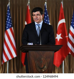 ISTANBUL, TURKEY - AUGUST 1: Turkish Foreign Minister Ahmet Davutoglu talks to the press after meeting the US Secretary of State Hillary Clinton on August 1, 2011 in Istanbul, Turkey.