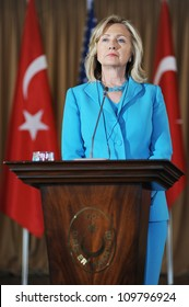 ISTANBUL, TURKEY - AUGUST 1: US Secretary of State Hillary Clinton talks to the press after meeting the Turkish Foreign Minister Ahmet Davutoglu on August 1, 2011 in Istanbul, Turkey.