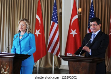 ISTANBUL, TURKEY - AUGUST 1: US Secretary of State Hilary Clinton and Ahmet Davutoglu, the Foreign Minister of Turkey held a joint press conference in Istanbul on August 1, 2011 in Istanbul, Turkey.