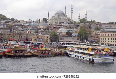 ISTANBUL, TURKEY - AUGUST 10, 2017: passenger ships with tourists in Golden horn bay in Istanbul, Turkey