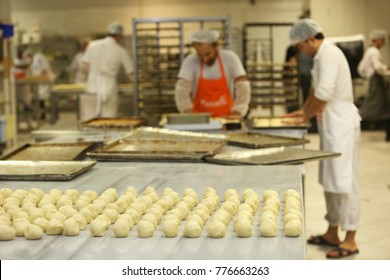 ISTANBUL, TURKEY - AUGUST 10: Turkish chefs making bagels and pastries in the baker factory on August 10, 2017 in Istanbul, Turkey.