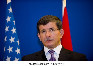 ISTANBUL, TURKEY - AUGUST 11: Turkish Foreign Minister Ahmet Davutoglu and US Secretary of State Hillary Clinton hold a press meeting about Syrian crisis on August 11, 2012 in Istanbul, Turkey.