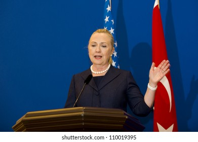 ISTANBUL, TURKEY - AUGUST 11: US Secretary of State Hillary Clinton and Turkish Foreign Minister Ahmet Davutoglu hold a press meeting  about Syrian crisis, on August 11, 2012 in Istanbul, Turkey.