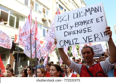 Istanbul, TURKEY / August 12, 2016: A group of workers resisting against dismissing from their job. Company's workers who are in strike wants their jobs back.