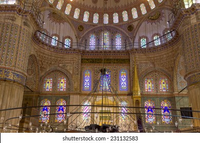 ISTANBUL, TURKEY - AUGUST 13, 2014: Blue Mosque interior