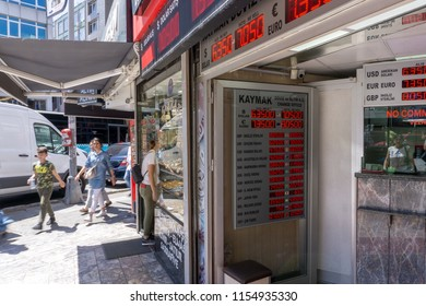 Istanbul, Turkey - August 13 2018: The Turkish Lira sank to a record low and a bad day for Turkish bazaars while markets rattled