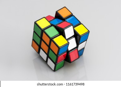 ISTANBUL - TURKEY - AUGUST 13, 2018: Rubik's cube on the black background. Rubik's Cube invented by a Hungarian architect Erno Rubik in 1974.