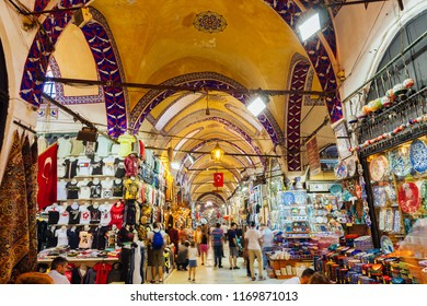 Istanbul, Turkey - August 14, 2018: People shopping inside the famous historical Grand Bazaar building on August 14, 2018 in Istanbul, Turkey.