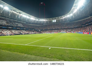 Istanbul, Turkey - August 14, 2019: The UEFA Super Cup match between Liverpool and Chelsea at Vodafone Park in Vodafon Arena.
