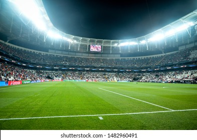 Istanbul, Turkey - August 14, 2019: Vodafon Arena stadium close up during the UEFA Super Cup Finals match between Liverpool and Chelsea at Vodafone Park in Vodafon Arena, Turkey