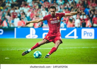 Istanbul, Turkey - August 14, 2019: Trent Alexander-Arnold during the UEFA Super Cup Finals match between Liverpool and Chelsea at Vodafone Park in Vodafone Arena, Turkey