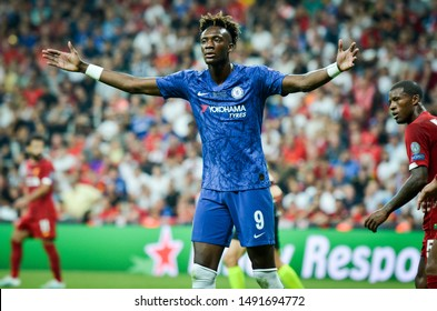 Istanbul, Turkey - August 14, 2019: Tammy Abraham during the UEFA Super Cup Finals match between Liverpool and Chelsea at Vodafone Park in Vodafone Arena, Turkey