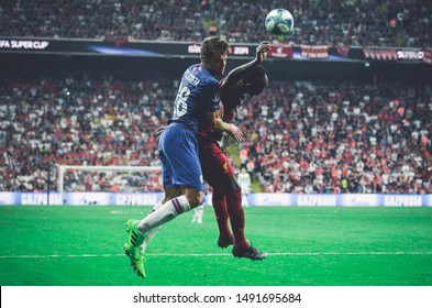 Istanbul, Turkey - August 14, 2019: Cesar Azpilicueta and Sadio Mane during the UEFA Super Cup Finals match between Liverpool and Chelsea at Vodafone Park in Vodafone Arena, Turkey