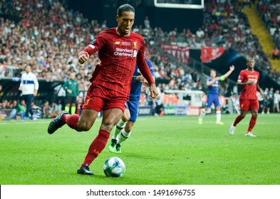 Istanbul, Turkey - August 14, 2019: Virgil van Dijk player during the UEFA Super Cup Finals match between Liverpool and Chelsea at Vodafone Park in Vodafone Arena, Turkey
