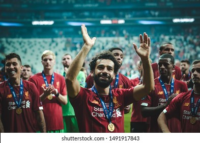 Istanbul, Turkey - August 14, 2019: Mohamed Salah celebrate victory during the UEFA Super Cup Finals match between Liverpool and Chelsea at Vodafone Park in Vodafone Arena, Turkey