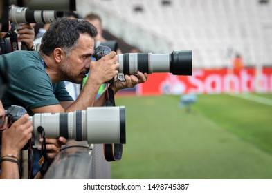 Istanbul, Turkey - August 14, 2019: TV Cameras and photojournalist cameras make report before the UEFA Super Cup Finals match between Liverpool and Chelsea at Vodafone Park in Vodafone Arena, Turkey
