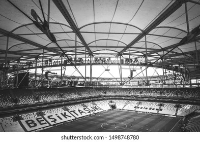 Istanbul, Turkey - August 14, 2019: General view of the stadium Vodafone Arenawith details before the UEFA Super Cup Finals match between Liverpool and Chelsea in Vodafone Arena, Turkey