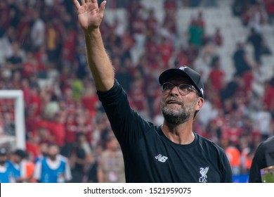 Istanbul, Turkey - August 14, 2019: Jurgen Klopp manager of Liverpool at the end of the UEFA Super Cup match between Liverpool and Chelsea at Vodafone Park.