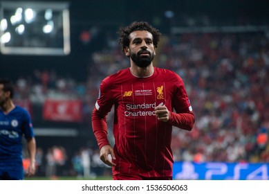 Istanbul, Turkey - August 14, 2019: Mohammed Salah forward of Liverpool during in the UEFA Super Cup match between Liverpool and Chelsea at Vodafone Park.