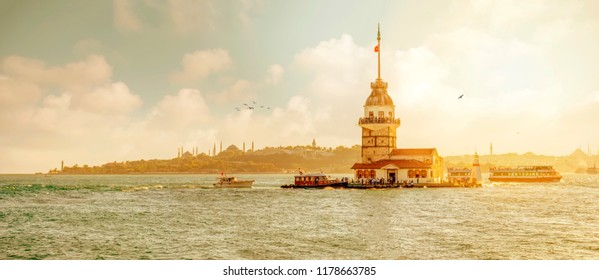 ISTANBUL, TURKEY - August 14 : Maiden's Tower or Kiz Kulesi located in the middle of Bosporus, Istanbul August 14, 2018 in Turkey.