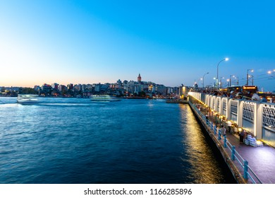 ISTANBUL, TURKEY - AUGUST 14: Istanbul view across the Golden Horn with the Galata Tower in the background on August 14, 2018 in Istanbul, Turkey.