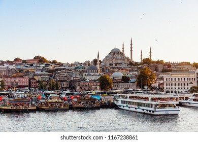 ISTANBUL, TURKEY - AUGUST 14: Istanbul view across the Golden Horn with the Suleymaniye Mosque in the background on August 14, 2018 in Istanbul, Turkey.