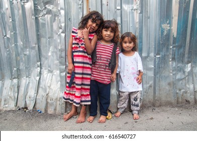 Istanbul, Turkey. August 15, 2014. Unidentified children Syrian refugees are standing on the street. Istanbul, Turkey