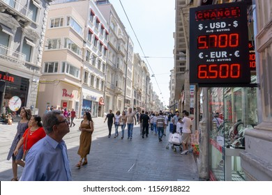 Istanbul, Turkey - August 15 2018: Many Turks and tourists went to change office today amid the rapid changes in Turkish currency