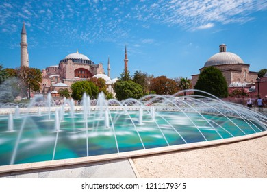 Istanbul, Turkey - August 15, 2018: Daytime view of the world's famous Hagia Sophia museum from Sultan Ahmet Park on August 15, 2018 in Istanbul, Turkey