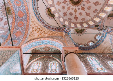 Istanbul, Turkey - August 15, 2018: The interior decorations of the Sultan Ahmed Mosque or Blue Mosque on August 15, 2018 in Istanbul, Turkey
