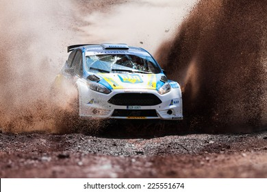 ISTANBUL, TURKEY - AUGUST 17, 2014: Oleksandr Saliuk drives Ford Fiesta R5 car in Avis Bosphorus Rally, Gocbeyli Stage