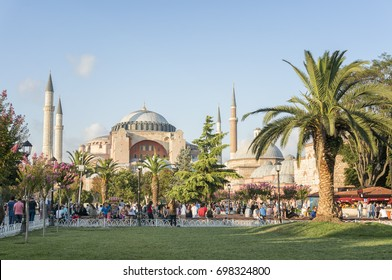 ISTANBUL, TURKEY, AUGUST 17, 2017:  People walking at Sultanahmet Square, Hagia Sophia can be seen at the background. Sultanahmet District is the heart of old Istanbul.