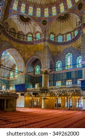 ISTANBUL, TURKEY, AUGUST 18, 2014: view over the magnificent interior of the blue mosque in istanbul