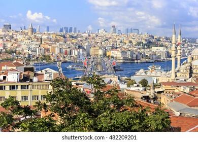Istanbul, Turkey; August 20, 2016: Galata bridge view from buyuk validehan