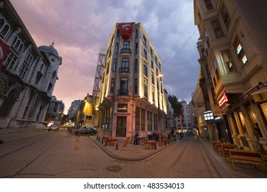 Istanbul, Turkey; August 20, 2016: Looking to blue cloudy sky among the historic builndgs from Istanbul via ultra wide angle lens