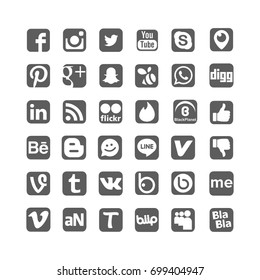 Istanbul, Turkey - August 20, 2017: Collection of popular social media logos printed on paper: Facebook, Instagram, Youtube, Vine, Badoo and others.