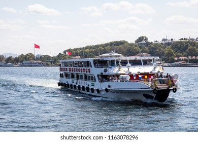 ISTANBUL, TURKEY - AUGUST 20, 2018: Passenger ships in the Gulf of the Golden Horn in Istanbul, Turkey.
