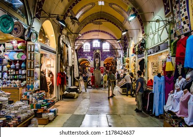 Istanbul - Turkey - August 2018: Decorated gallery  in Gran Bazaar.