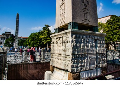 Istanbul - Turkey - August 2018: Obelisks in ancient roman hippodrome.