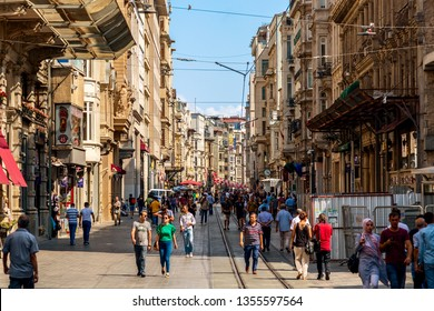Istanbul, Turkey - August, 2018: People are walking on Istiklal Street, Beyoglu district. Famous tourism street in Istanbul, Turkey in summer.