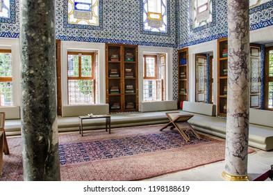 Istanbul - Turkey - August 2018: Topkapi Museum circumcision room.