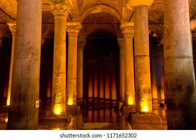 Istanbul, Turkey,  - August, 2018: Underground Basilica Cistern Yerebatan Sarnici in Istanbul, Turkey. Famous tourist place