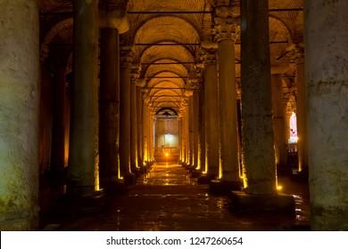 Istanbul, Turkey - August, 2018: Underground Basilica Cistern Yerebatan Sarnici in Istanbul, Turkey. Famous tourist place.