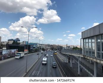 ISTANBUL, TURKEY, August 2019; Metrobus, a part of public transportation system, Metrobus Sefakoy station