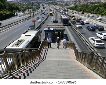 ISTANBUL, TURKEY, August 2019; Metrobus, a part of public transportation system, eases the traffic in Istanbul. Istanbul public transport, vehicle called Metrobus goes own way with non traffic.