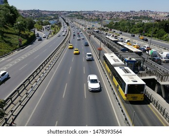ISTANBUL, TURKEY, August 2019; - Istanbul public transport - vehicle called Metrobus goes own way with non traffic, people usually use it. photo was taken at Halicioglu Metrobus Station.